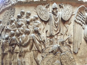 Detail of the cast of Trajan's Column at the V&A.