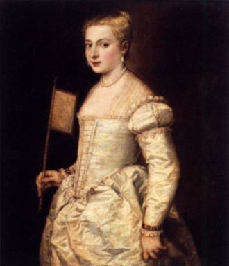 Titian, Girl with a Fan, c. 1556. Gemäldegalerie, Dresden.